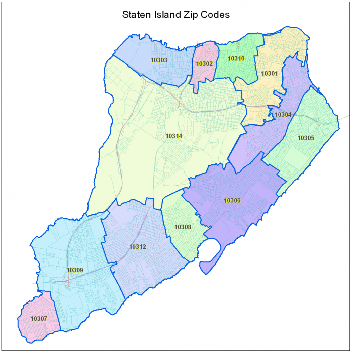 staten island zip code map