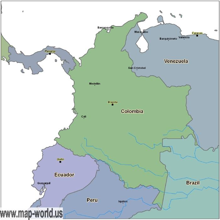 Map of Colombia Colombia Map World Map