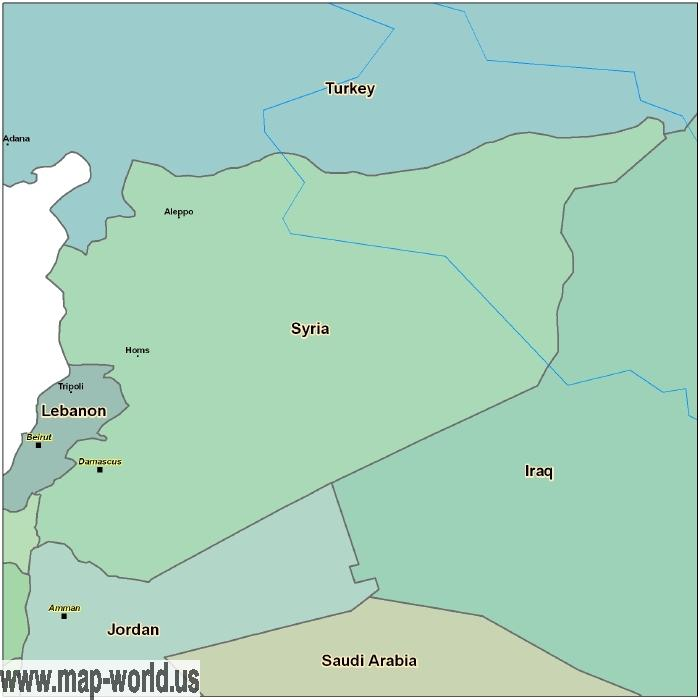 Map of Syria Syria Map World Map